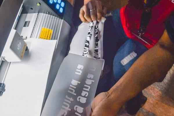 embroidery. blueprint and whiteprint. digital printing